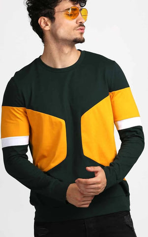 MUSTARD AND BOTTLE GREEN FULL SLEEVE T-SHIRT