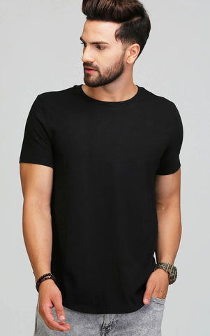 ROUND NECK PLAIN BLACK T SHIRT