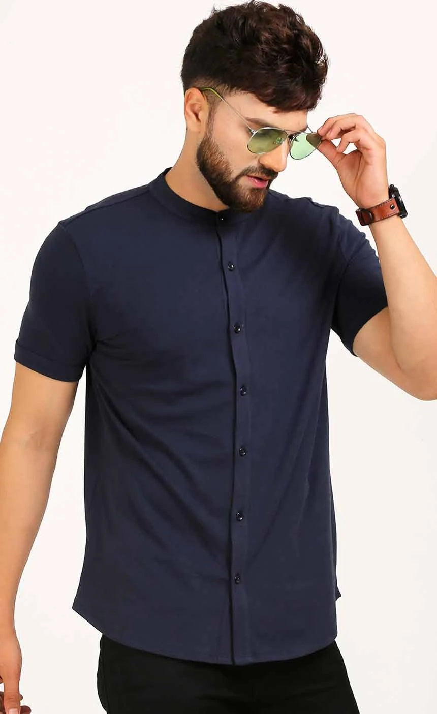 SHIRT STYLE T SHIRT IN NAVY BLUE