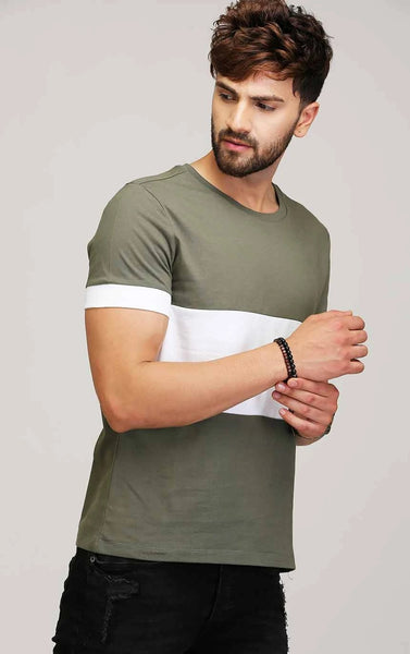 OLIVE AND WHITE COTTON T SHIRT