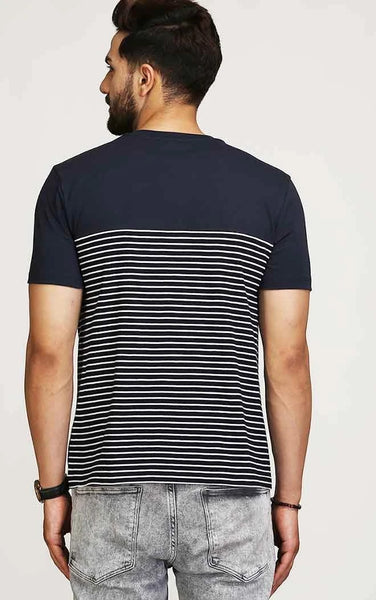 NAVY BLUE WITH STRIPE T SHIRT
