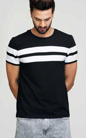 BLACK WITH WHITE STRIPE T SHIRT