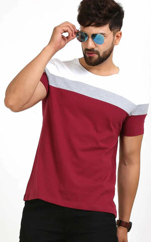 ROUND NECK CASUAL MEN'S T SHIRT IN MAROON