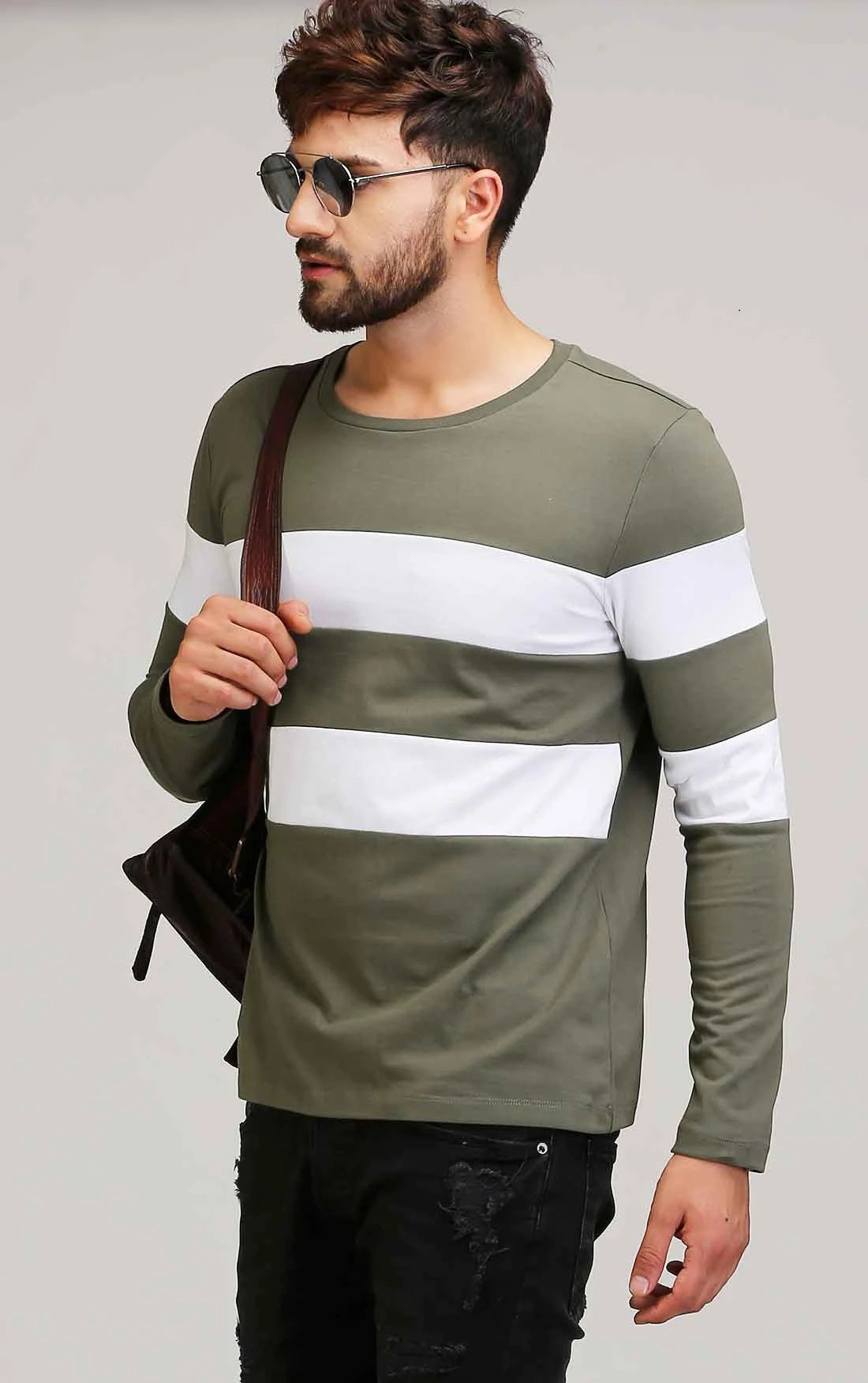OLIVE WITH DUAL WHITE STRIPE T SHIRT