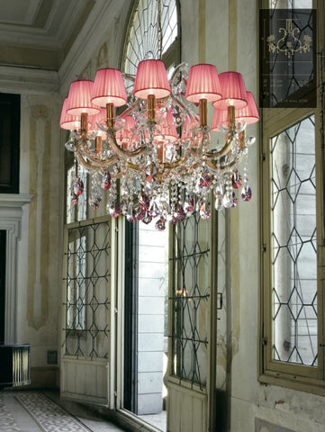 Gold Plated Crystal Glass Chandelier with Pink Organza Shades