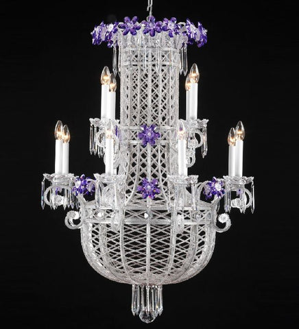 12 Light Silver Chandelier with Crystal Glass Flowers