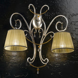 'Venezia' double iron wall light with Murano glass beads
