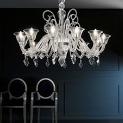 Large Chandelier with Lead Crystal Trim
