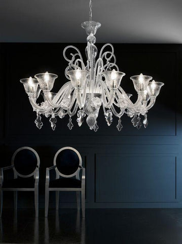 Large Transparent Hand Blown Murano Glass Chandelier