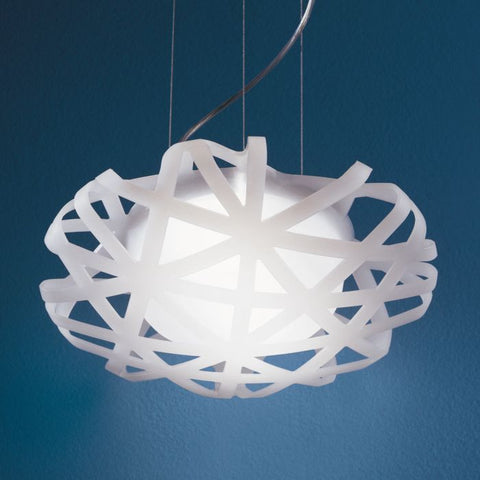 Futuristic white or grey polypropylene pendant light