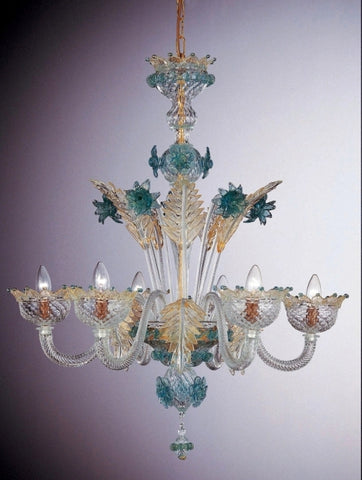 Murano glass 6 light chandelier with blue and gold decorations