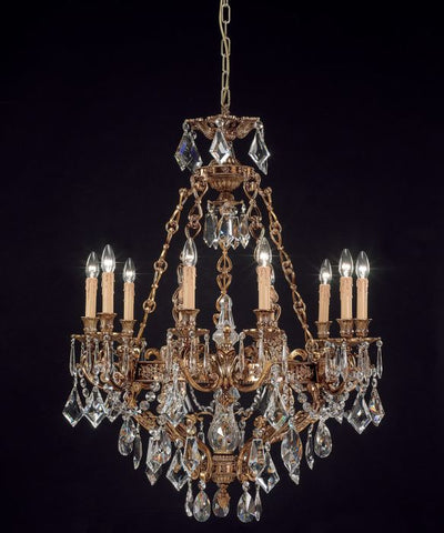 10 Light French Gold Chandelier with Turkish Crystals