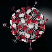 De Majo Cosmospora K47 red & white glass chandelier