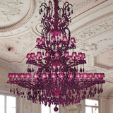Large 75 light chandelier with purple organza shades