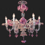 Small murano glass chandeliers under 70cm diameter italian 6 light murano glass chandelier with pretty pink flowers aloadofball Images