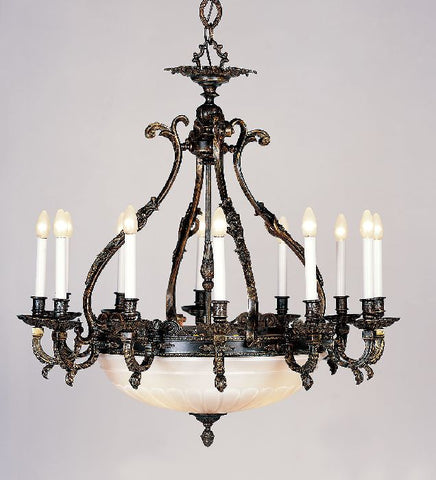 Brass Chandelier with Cut Glass Bowl