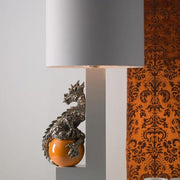 Platinum  and orange majolica dragon table lamp