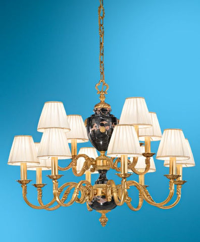 Gold and Marble Italian Chandelier