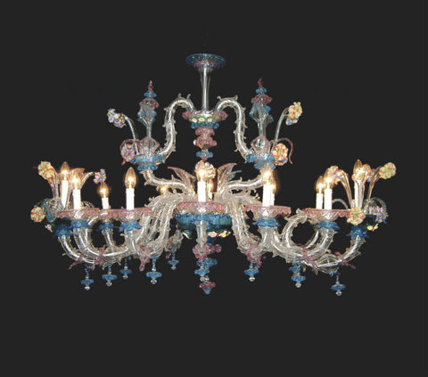 Pink and blue Murano flower Chandelier