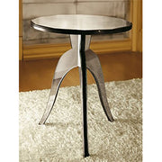 Round Venetian mirrored glass coffee table with black wood frame