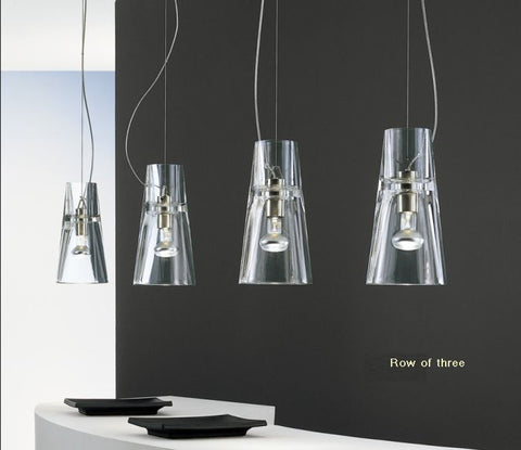 Kon minimal clear glass & chrome pendant light