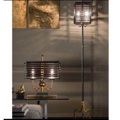 Colonial style wood and bronze designer table lamp