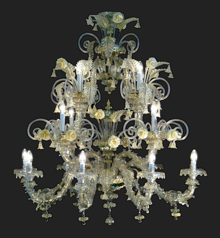 16 Light clear Murano glass chandelier with ceramic flowers