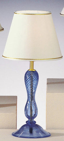 Blue Murano glass ribbed table lamp base