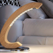 Curved oak table lamp from Italy with Asfour crystals