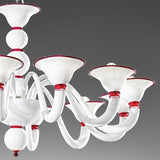 12 light white glass chandelier with colour options