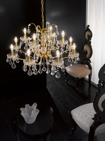 12 light lead crystal gold-plated 2 tier chandelier