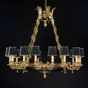 16 Light French Gold Chandelier with Black Shades