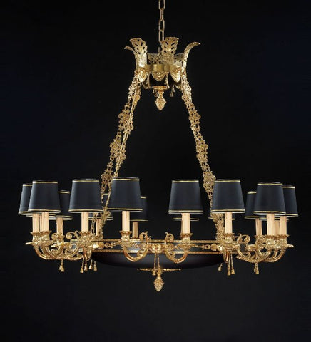 8 light French gold chandelier with black shades [9661]