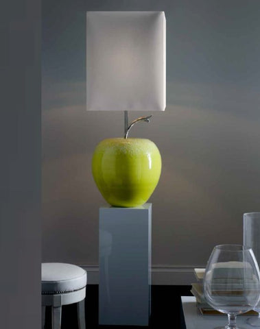 Fabulous green majolica apple floor lamp with shade
