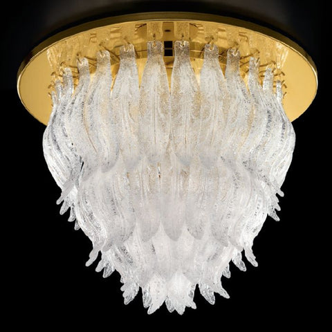Gold or chrome framed 56 cm Murano glass flush ceiling light