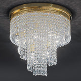 Italian lead crystal & gold-plated waterfall ceiling light