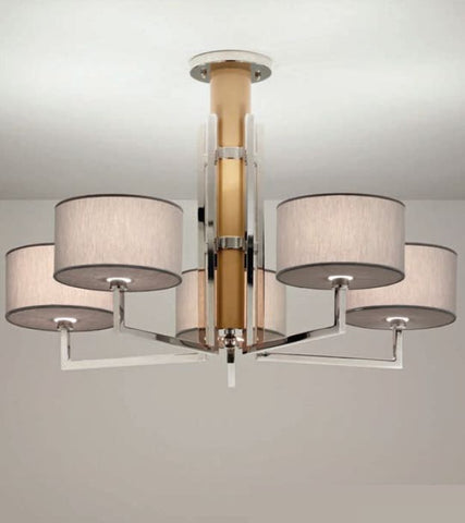 Modern Italian silver ceiling light with choice of shade colour