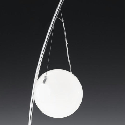Modern floor lamp with milk white glass globe diffuser