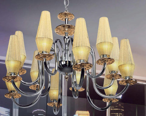 Twelve Light Chandelier with Chromium Bobeches