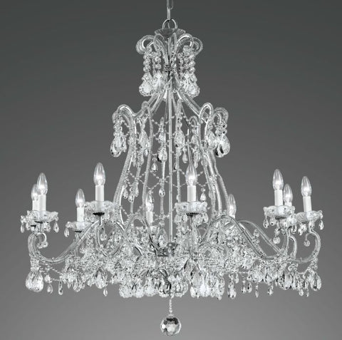 Iron Chandelier with Crystal Decoration
