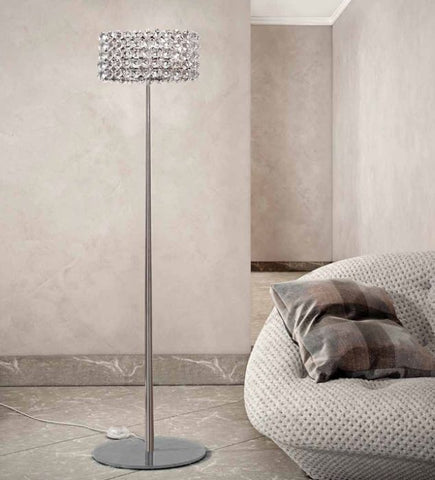 Modern nickel & crystal floor lamp with Swarovski option