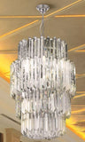 Lead crystal prism chandelier with gold or chrome frame