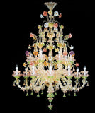 Multicoloured Murano glass chandelier in the Rezzonico style