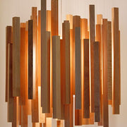 Mid-century modern-style wood and steel chandelier