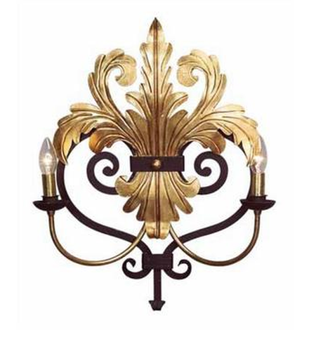 Art Deco Metal Double Lamp Sconce Finished in Gold and Black