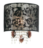 Black lace wall light with amethyst glass and crystal pendants