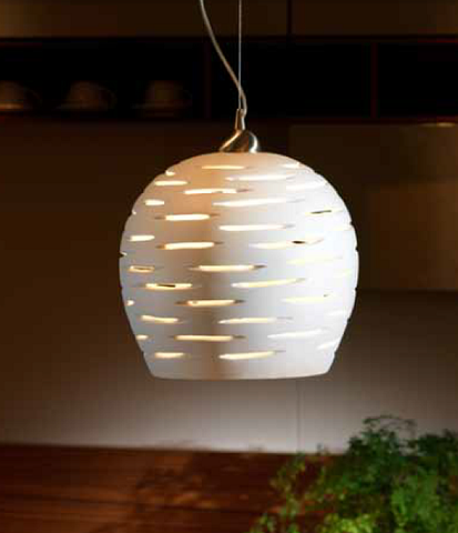 Modern handmade white ceramic vented ceiling light