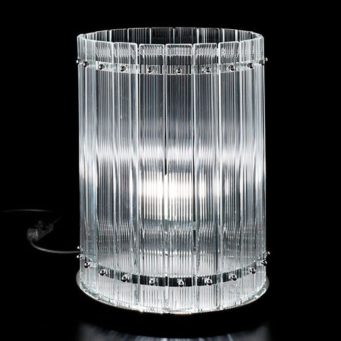 Large Nastri ribbed glass table lamp from Venini