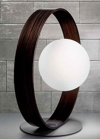 Circular Ebony wood lamp with white glass globe diffuser
