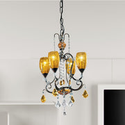 4 light iron chandelier with amber glass shades